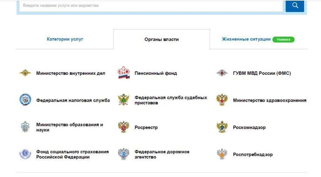 портал госуслуг органы власти