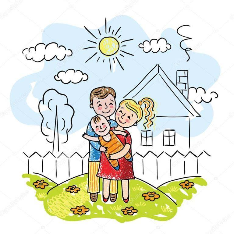 рисунки счастливой семьи с детьми те, кто