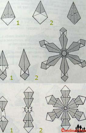Снежинка в стиле оригами простая
