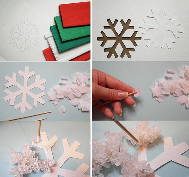 Снежинка из маленьких кусочков бумаги