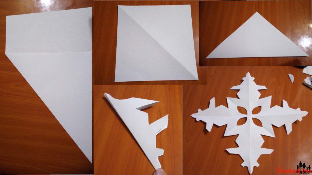 Простая схема складывания бумаги для снежинки