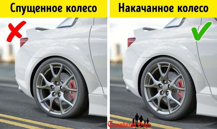 подкачивайте колеса автомобиля