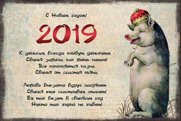 Прикольные поздравления с Новым годом 2019 Желтой земляной свиньи.