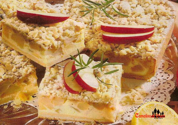 яблочный творожный пирог