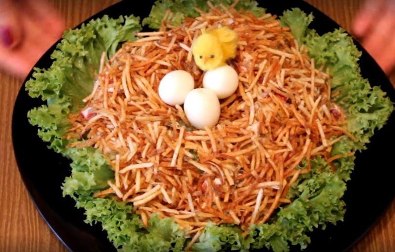 пасхальный салат гнездо